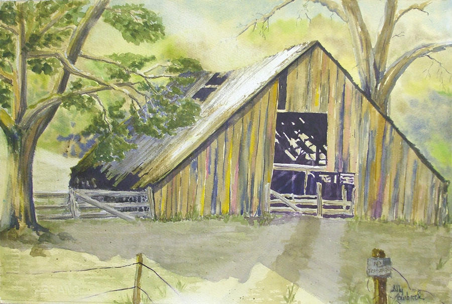 Old Barn Painting - Day Is Done by Ally Benbrook