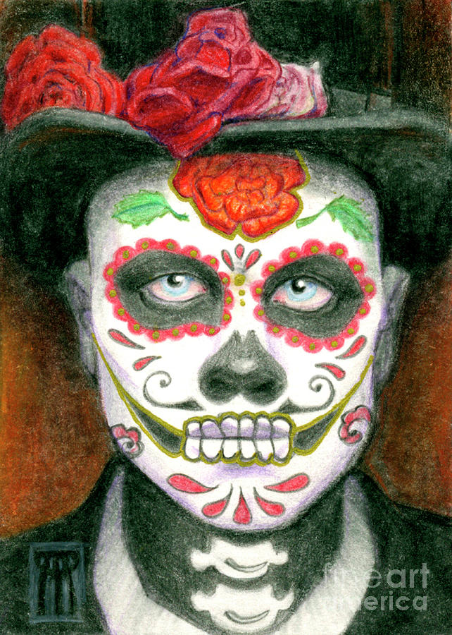 Day Of The Dead Sugar Skull With Top Hat Painting By