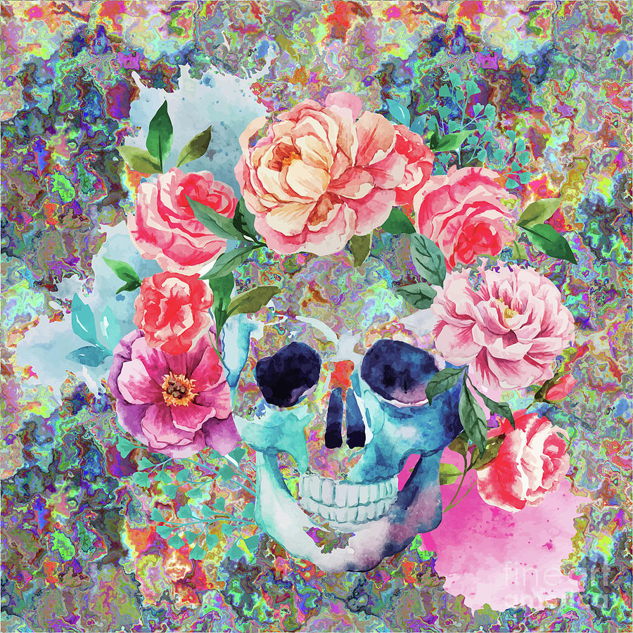 Day Of The Dead Watercolor Digital Art