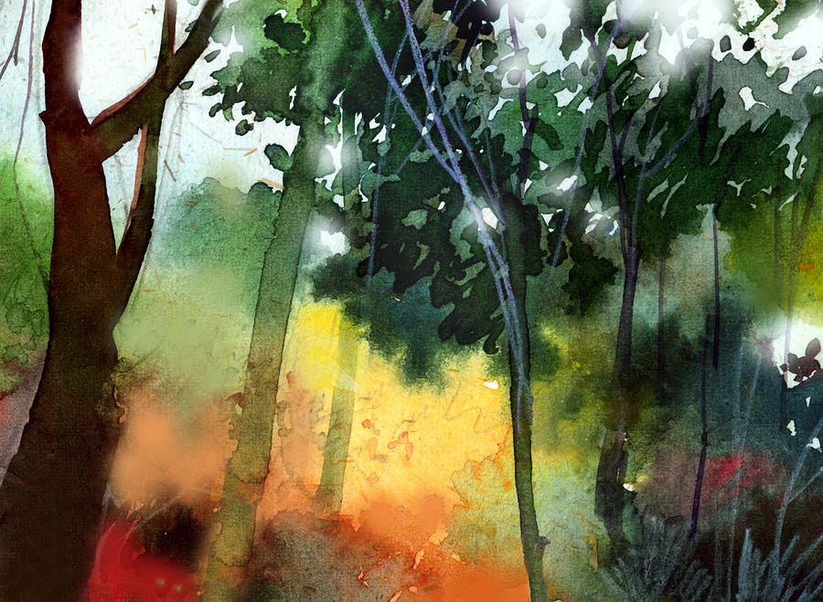 Water Color Painting - Daybreak by Anil Nene