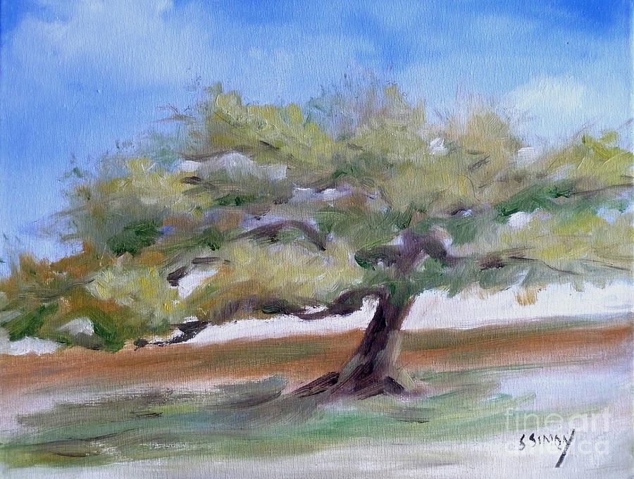 Landscape Painting - Deborahs Tree by Sally Simon