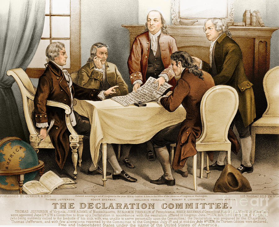 Currier And Ives Photograph - Declaration Committee 1776 by Photo Researchers