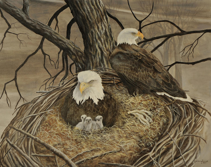 Decorah Iowa Eagle Family Nest Painting - Decorah Eagle Family by Gloria Kittleson-Kearney