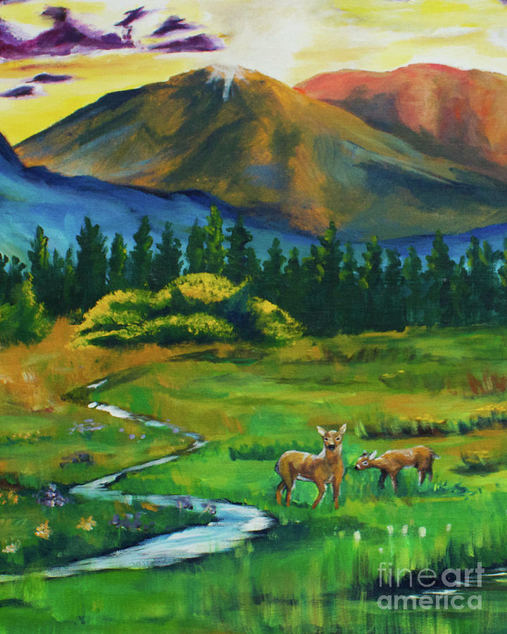 Farmhouse At Dusk: Deer At Dusk Crop From Marks Farm Painting By Caitlin Lodato