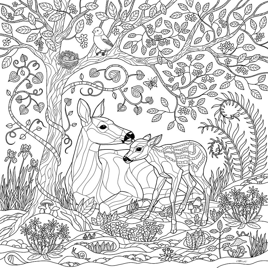 Deer Fantasy Forest Coloring Page Drawing By Crista Forest
