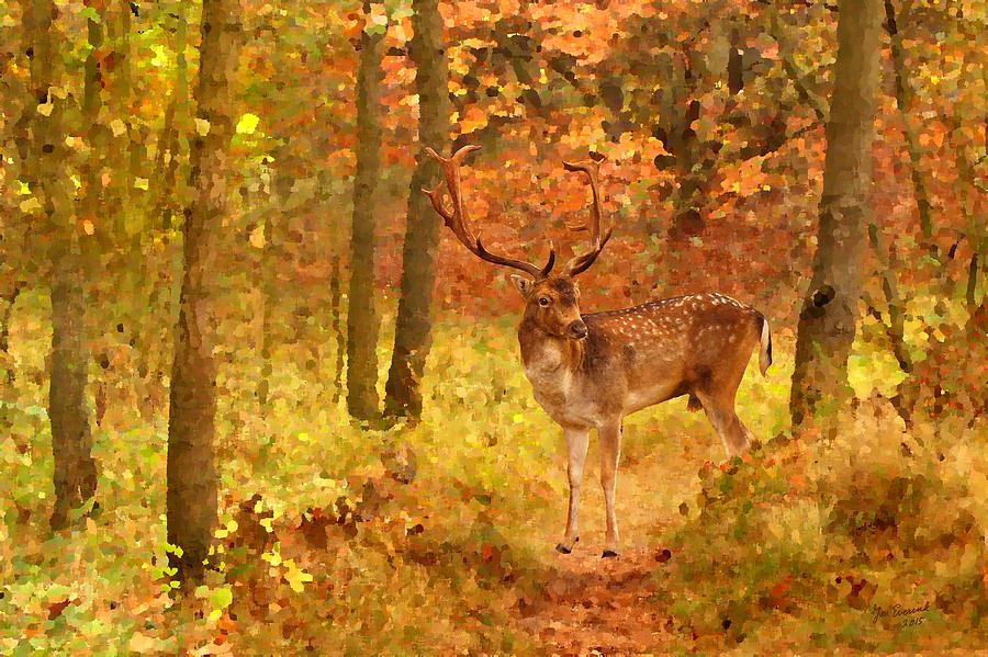 Deer In Autumn Forest is a painting by Jan Everink which was uploaded ...