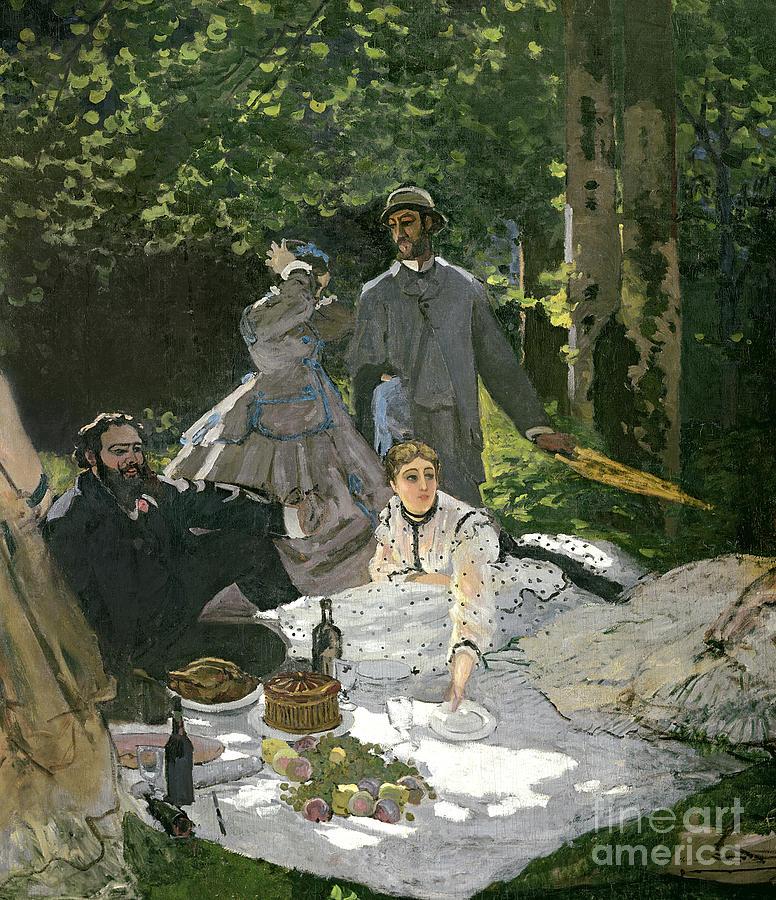 Dejeuner Painting - Dejeuner Sur Lherbe by Claude Monet