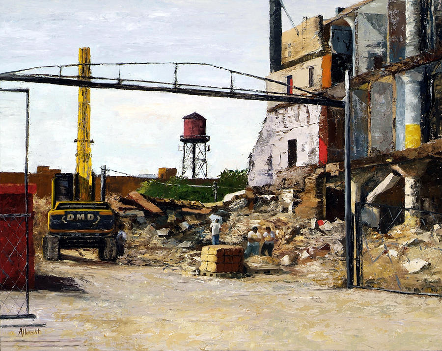 Cityscape Series Painting - Demolition 4  by Nancy Albrecht