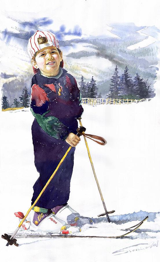 Watercolor Watercolour Figurative Ski Children Portret Realism Painting - Denis 03 by Yuriy  Shevchuk