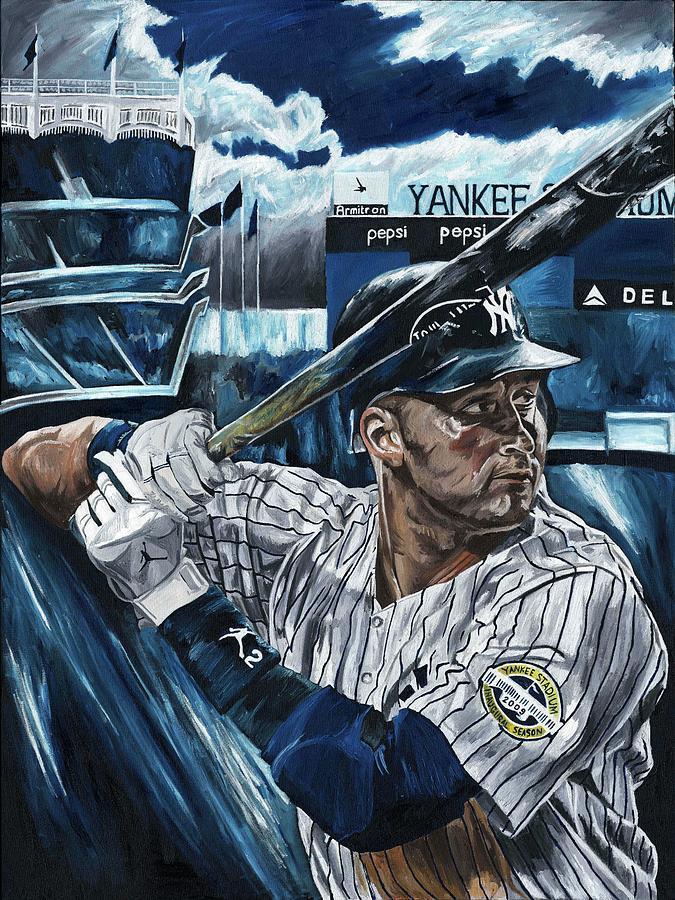 Derek Jeter New York Yankees Baseball Mlb Shortstop Hitter David Courson Painting Painting - Derek Jeter by David Courson