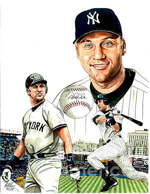 Yankees Sports Mlb Jeter New York Drawing - Derek Jeter by Neal Portnoy