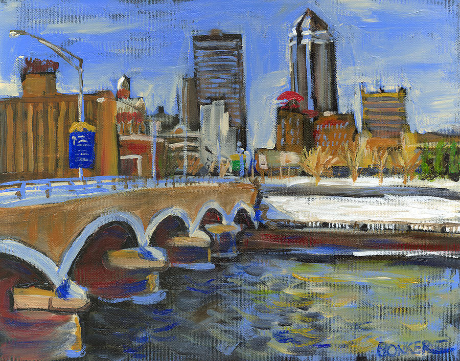 Skyline Painting - Des Moines Skyline by Buffalo Bonker