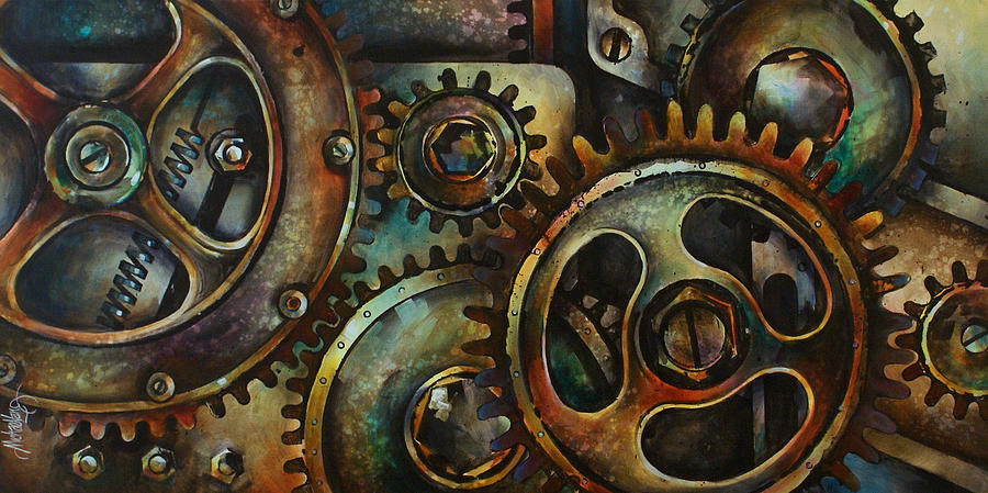 Mechanical Machine Gears Sprokets Metal Rust Painting - Design 2 by Michael Lang