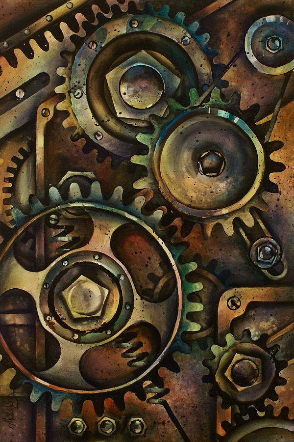 Mechanical Design Machine Gears Pullys Springs Circles Variable Color Industrial  Painting - Design 3 by Michael Lang