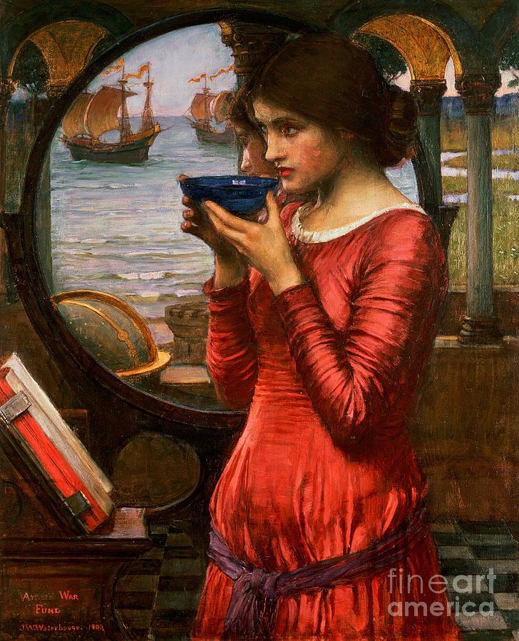 Boat; Globe; Poison; Blue Glass; Pre-raphaelite; Allegorical; Red Dress Painting - Destiny by John William Waterhouse