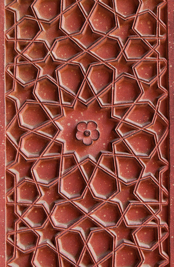 Vertical Photograph - Detail Of Carvings On Wall In Agra Fort by Inti St. Clair