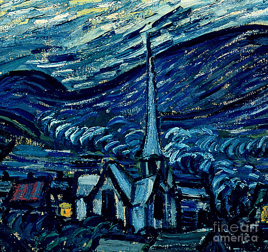 Post-impressionist;stars;star;nocturne;landscape;church Spire;moon;moonlight;tree;sky;cosmic;st;remy;provence;french;saint-remy;post-impressionism Painting - Detail Of The Starry Night by Vincent Van Gogh