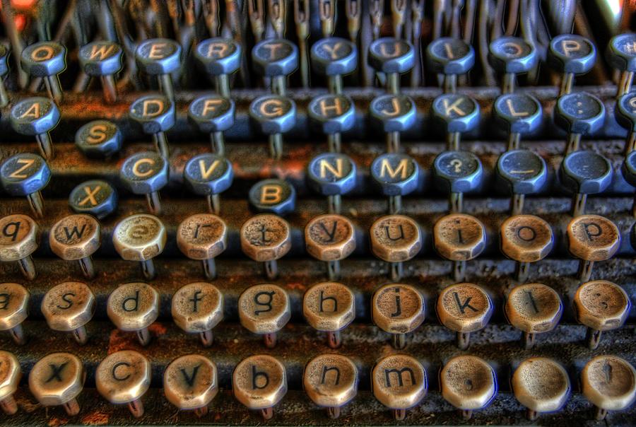 Typewriter Photograph - Dfghjk by Joel Witmeyer