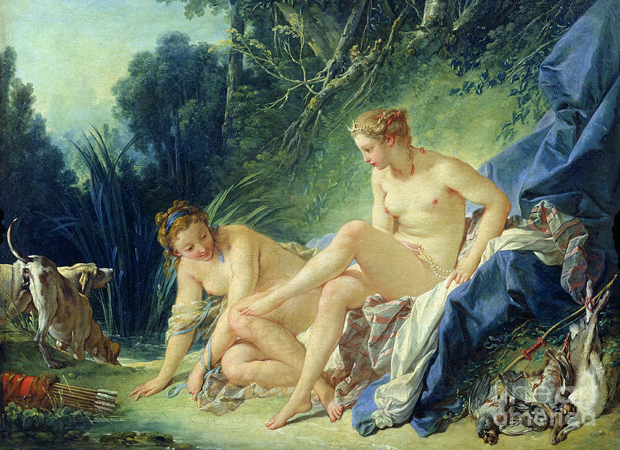 Dog Painting - Diana Getting Out Of Her Bath by Francois Boucher