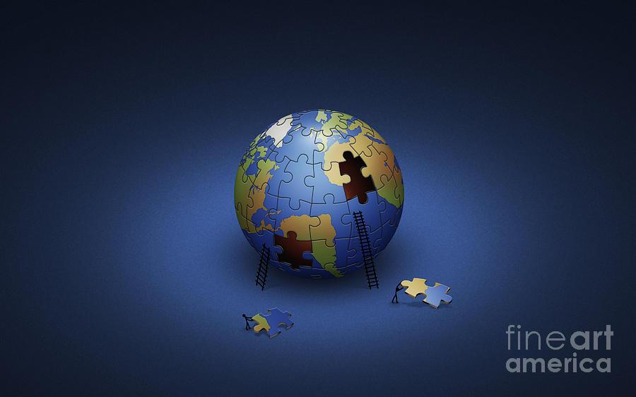 Planets Digital Art - Digitally Generated Image Of The Earth by Vlad Gerasimov
