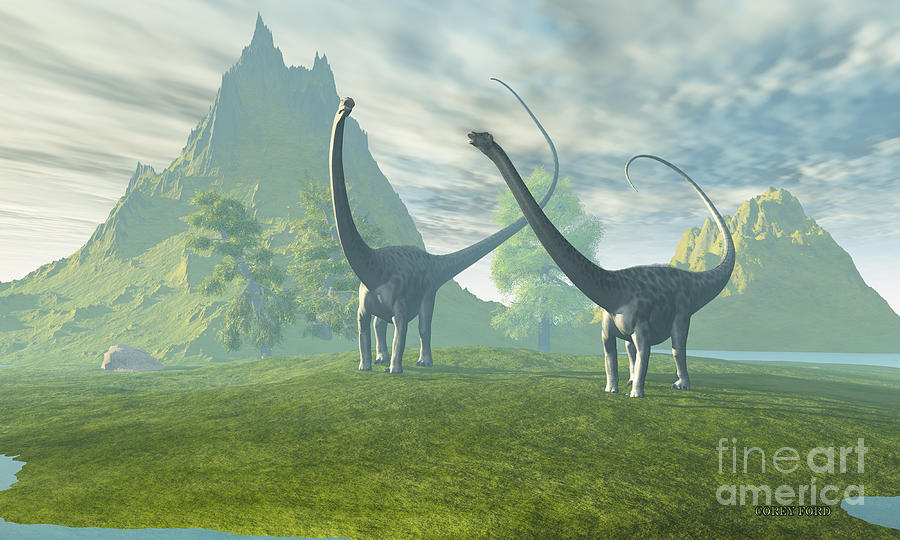 Diplodocus Painting - Dinosaur Land by Corey Ford