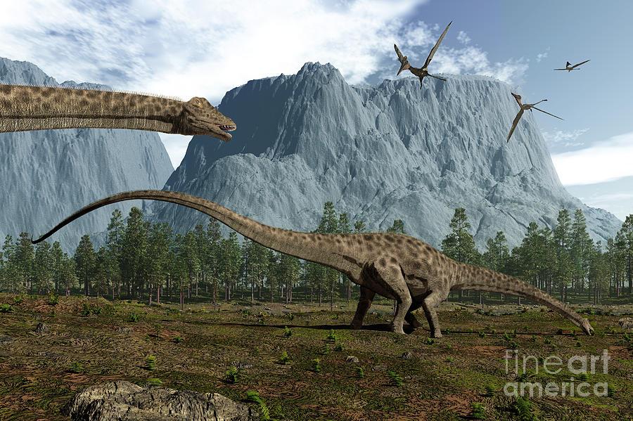 Diplodocus Dinosaurs Graze While Digital Art
