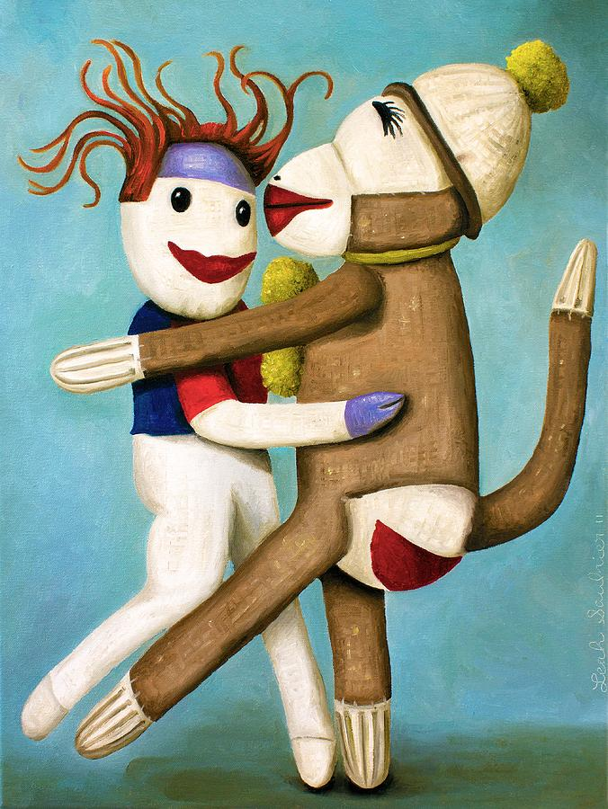 Sock Doll Painting - Dirty Socks Dancing The Tango by Leah Saulnier The Painting Maniac