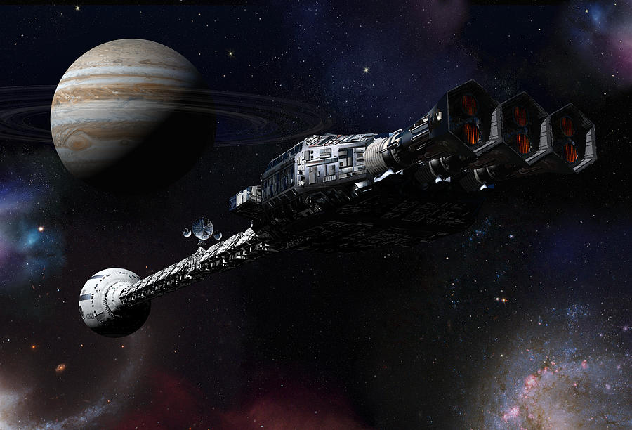 2001 A Space Odyssey Digital Art - Discovery Near Jupiter by Joseph Soiza