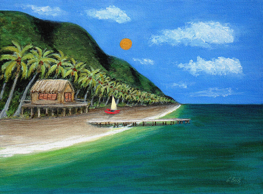 Contemporary Tropical Seascape Coastal Palm Trees Sailboat Sailing Ocean Beach Tahiti G Painting - Distant Shores by Gordon Beck