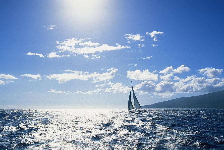 Beautiful Photograph - Distant View Of Sailboat by Ron Dahlquist - Printscapes