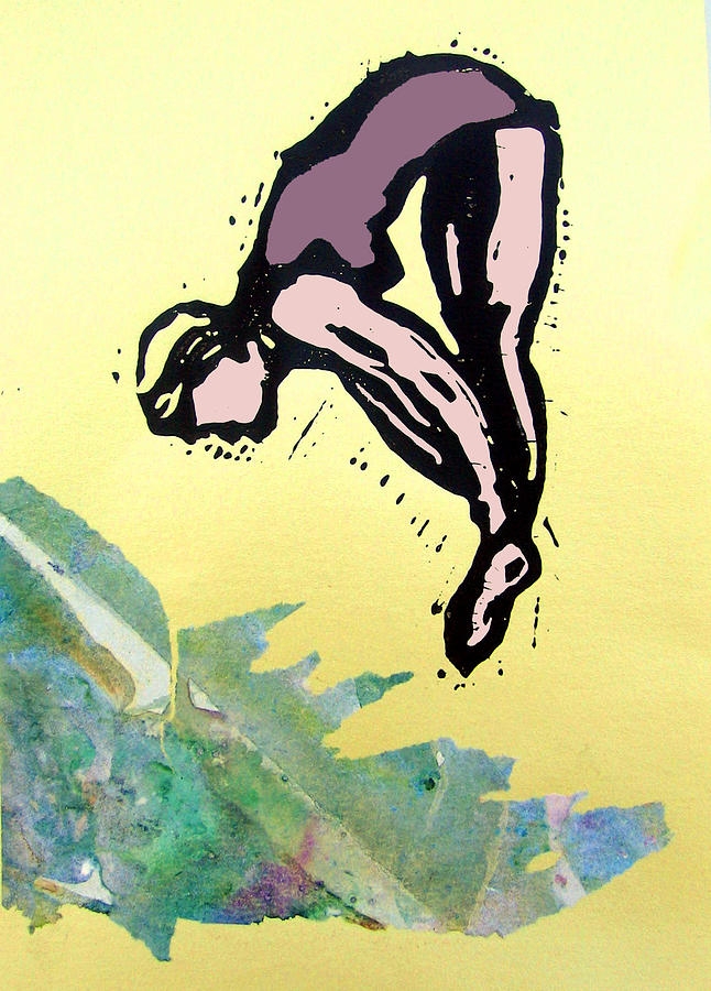 Lino Mixed Media - Dive - Into Morning Waves by Adam Kissel