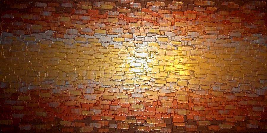 Original Gold Abstract Palette Knife Metallic Textured Impasto Painting Contemporary Canvas Sculpture Art By Lafferty Painting - Divided Reflection by Daniel Lafferty