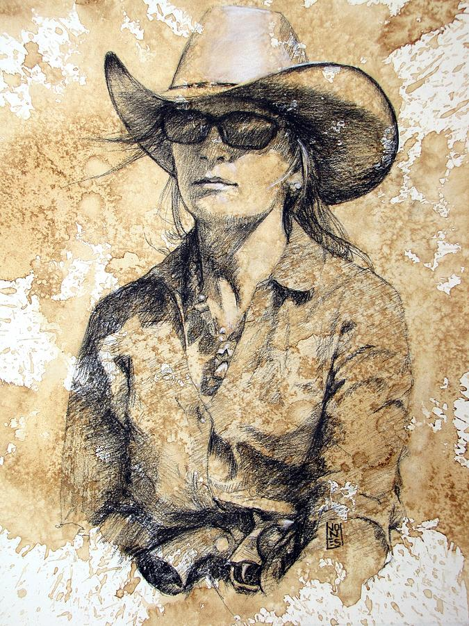 Cowgirl Drawing - Doc by Debra Jones