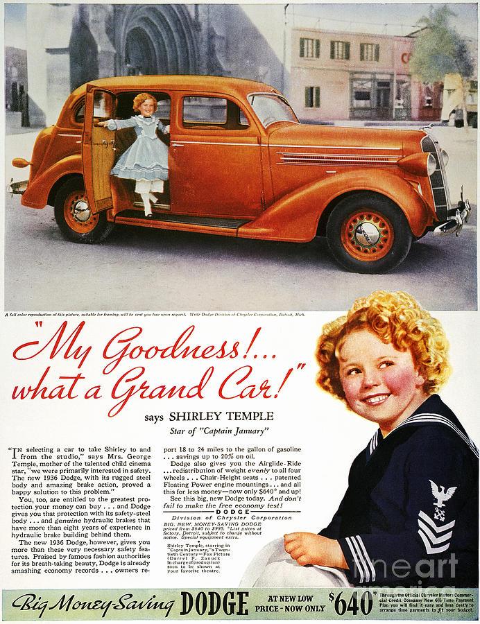 1936 Photograph - Dodge Automobile Ad, 1936 by Granger