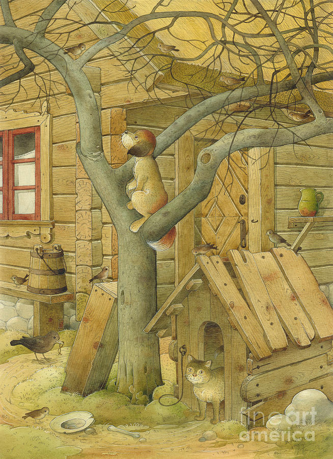 Dog Cat Village Countryside Tree Painting - Dog And Cat by Kestutis Kasparavicius
