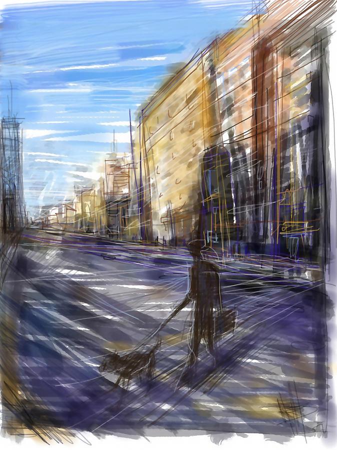 City Street Digital Art - Dog Walks Man by Russell Pierce