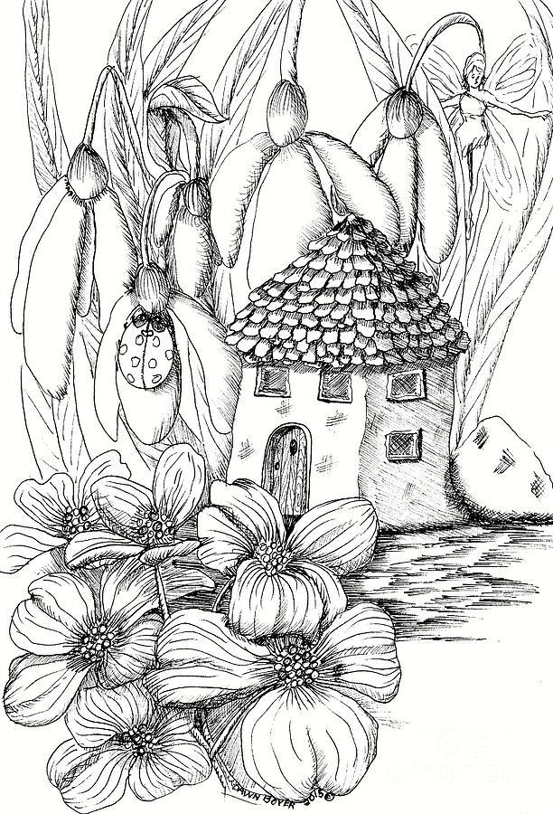 Dog Wood Garden Fairy House Drawing by Dawn Boyer