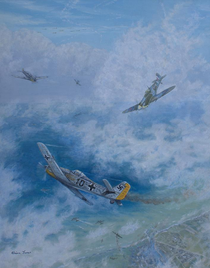Oil Paintings Painting - Dogfight Over Dieppe 19 August 1942 by Elaine Jones
