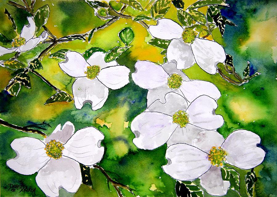 Dogwood Painting - Dogwood Tree Flowers by Derek Mccrea