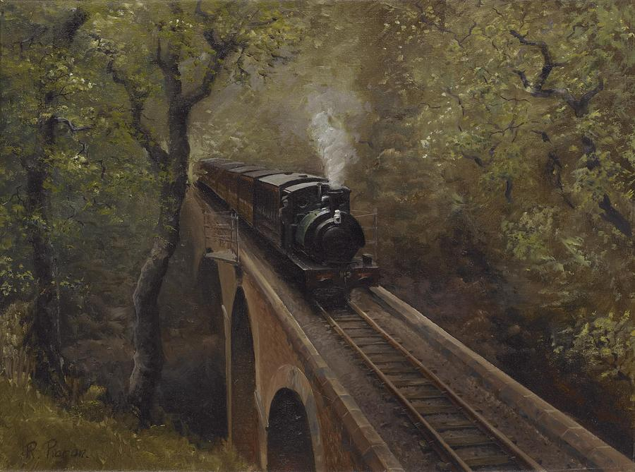 Steam Painting - Dolgoch Viaduct by Richard Picton
