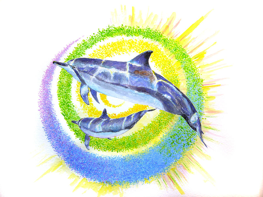 Dolphins Painting - Dolphin -spiral by Tamara Tavernier