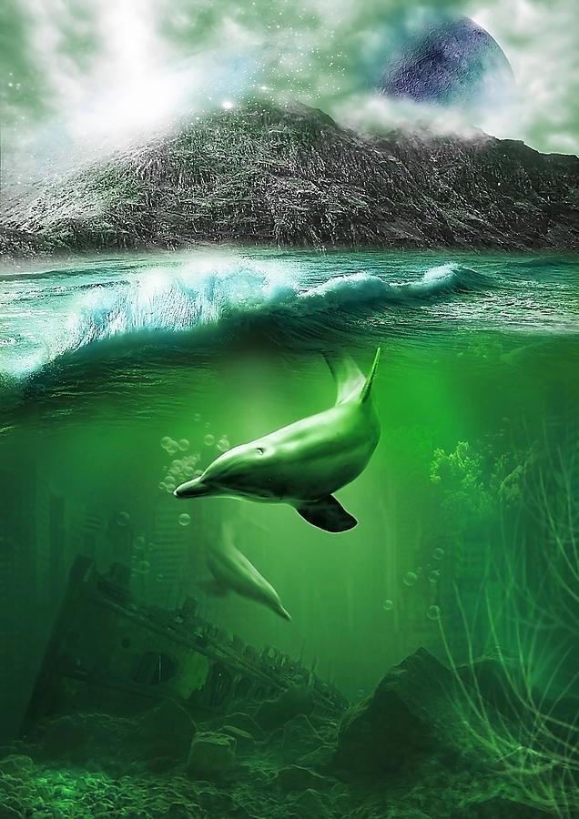 Abstract Digital Art - Dolphins by Svetlana Sewell