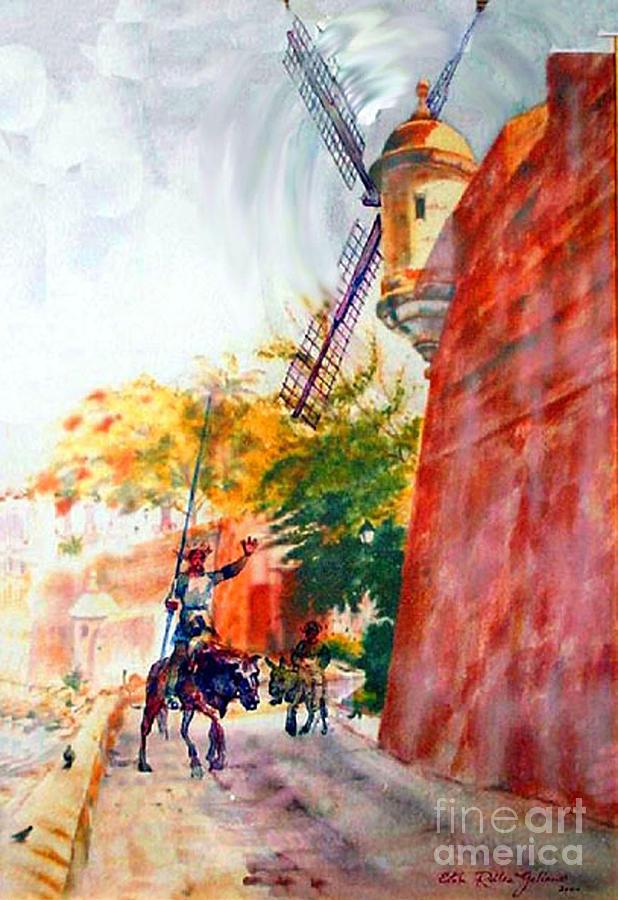 Old San Juan Prints Painting - Don Quixote In San Juan by Estela Robles