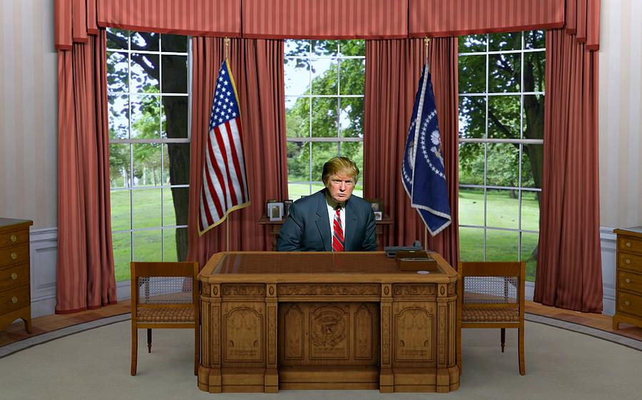 donald trump in the oval office is a photograph by movie poster prints