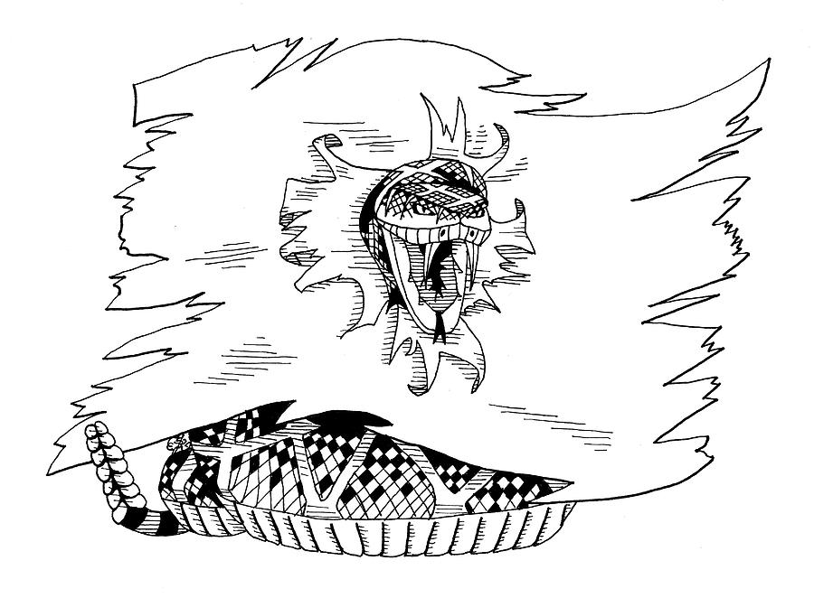 Rattle Snake Drawing - Dont Tread On Me Or Gadsden Flag by Scarlett Royal