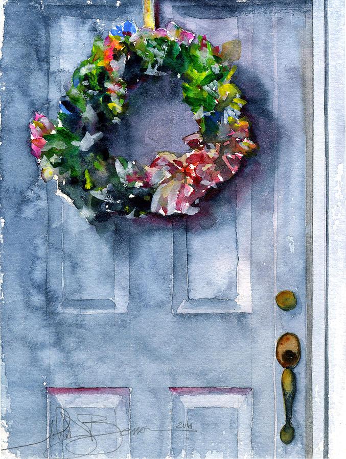 Wreath Painting - Door Wreath by John D Benson