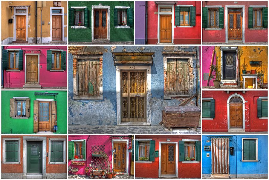 Travel Photograph - doors and windows of Burano - Venice by Joana Kruse