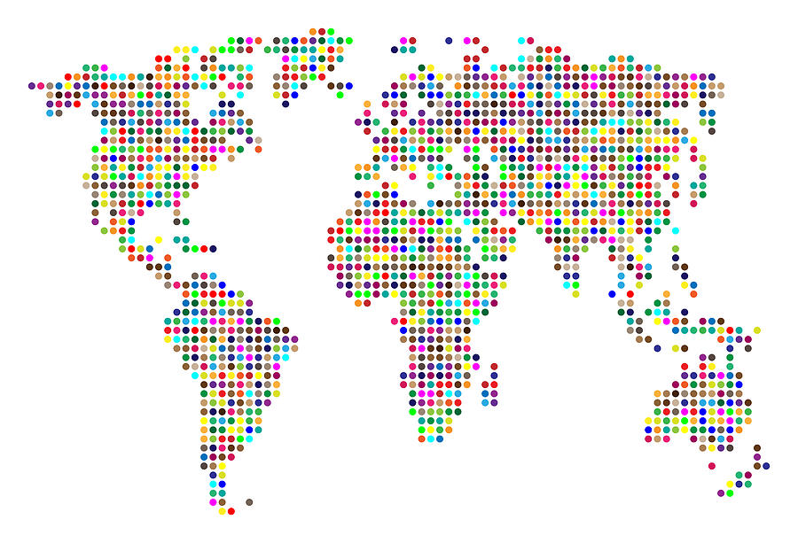 Map Digital Art - Dot Map Of The World - Colour On White by Michael Tompsett