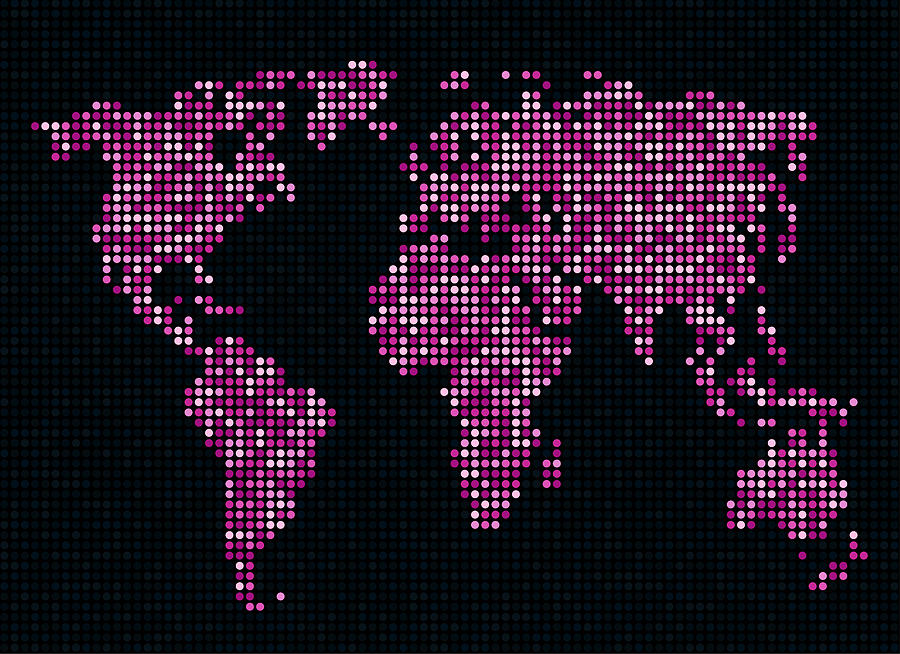 Map Digital Art - Dot Map Of The World - Pink by Michael Tompsett