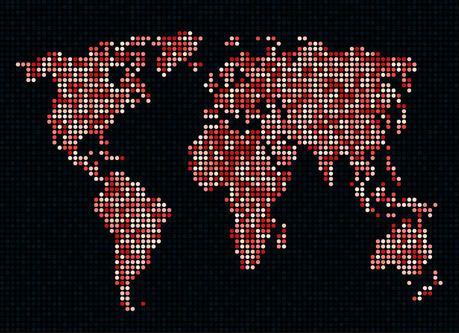 Map Digital Art - Dot Map Of The World - Red by Michael Tompsett